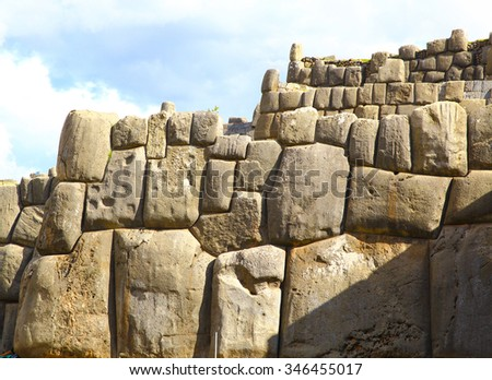Inca Ruins - Saqsaywaman, Peru, South America. Archaeological complex, Cuzco. - stock photo