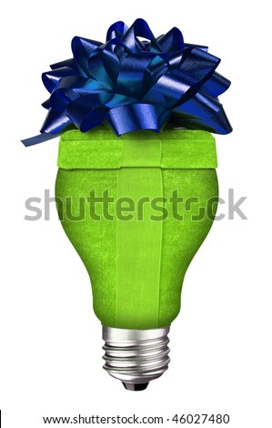 incandescent lightbulb with holiday gift inside isolated over white with a clipping path - stock photo