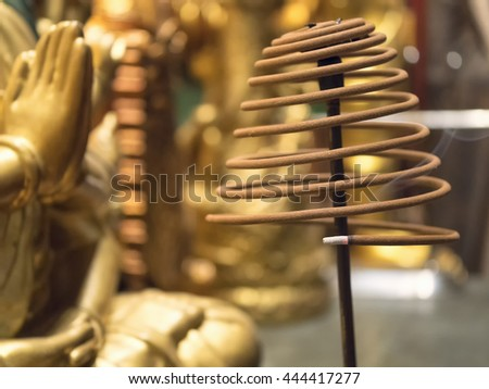 Incense altar in a Chinese temple.,Choose a focal point of burning incense. - stock photo