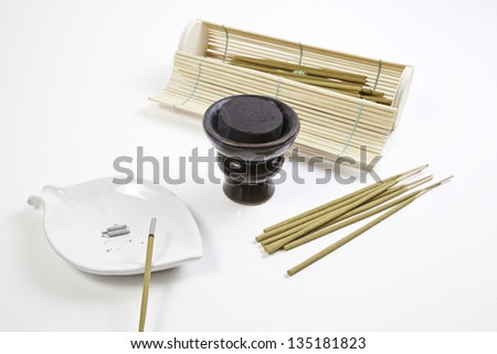 Incense and charcoal in the spa, detail of relaxation at the spa, oriental textured background - stock photo