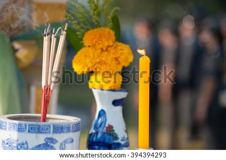 Incense candles altar  - stock photo