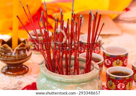Incense sticks  at the Temple in Thailand - stock photo