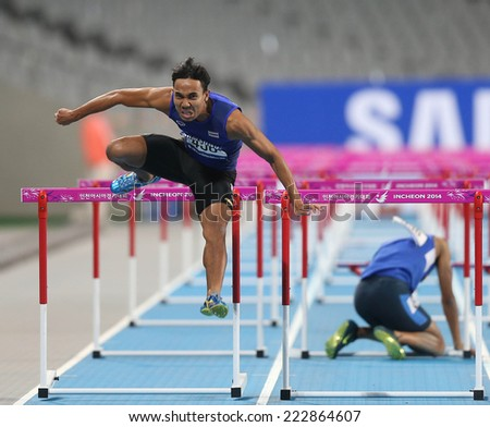 INCHEON - SEP 30:Jamras RITTIDET of Thailand in action during the 2014 Incheon Asian Games at Incheon Asiad Main Stadium on September 30, 2014 in Incheon, South Korea. - stock photo