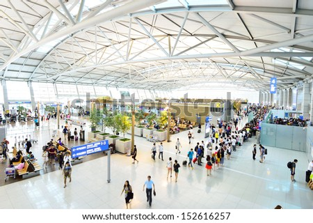 INCHEON, SOUTH KOREA - AUGUST 24 : The Incheon International Airport is the largest airport in South Korea, the primary airport serving the Seoul National Capital Area, on August 24 2013 in Seoul - stock photo