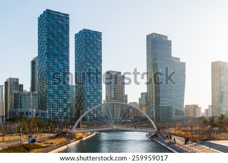 INCHEON, SOUTH KOREA -MAR 04: Songdo Central Park is the green space plan,inspired by NYC Central Park. Central Park is a green oasis in the midst of Korea's first international city on March 04, 2015 - stock photo