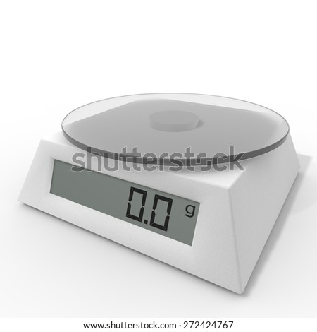 Included electronic kitchen scales on the isolated background - stock photo
