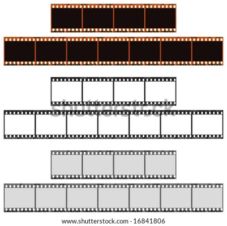 Includes an outline path and a path around the frames. Three versions of a four and seven frame color 35mm filmstrip. Very detailed and easy to edit. - stock photo