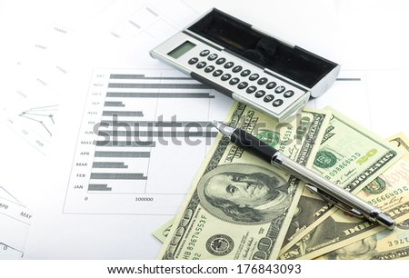 income and outcome statement report with calculator, pen and usd money for business - stock photo