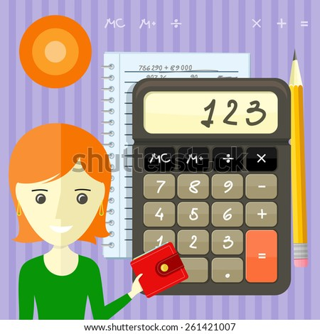 Income calculation concept. Savings, finances, economy in home concept close up of woman with purse near calculator counting money and making notes cartoon design style. Raster version - stock photo