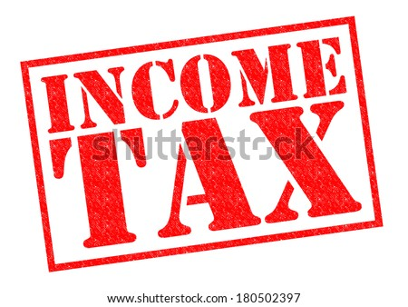 INCOME TAX red Rubber Stamp over a white background. - stock photo