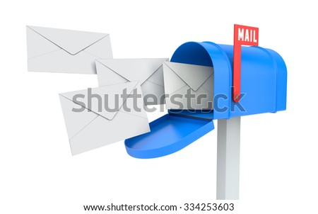 Incoming mail. blue mailbox with letters isolated on white with clipping path - stock photo