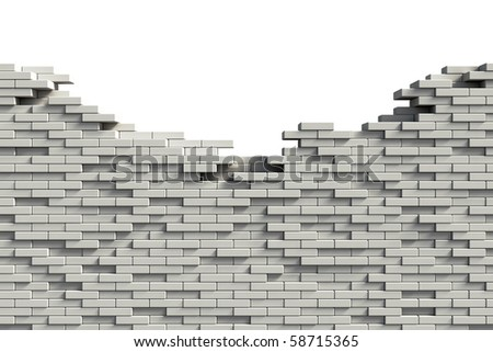 Incomplete white brick wall - stock photo