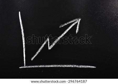 Increase chart on a blackboard meaning sales growth - stock photo