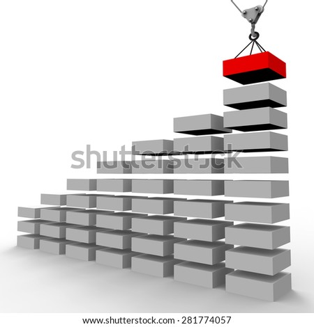 Increase Graph Construction Indicating Forecast Data And Infograph - stock photo