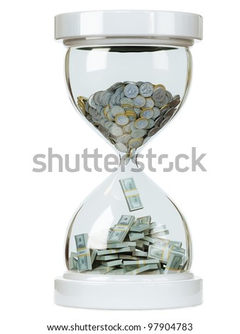 increase in cash earnings on white isolated background - stock photo