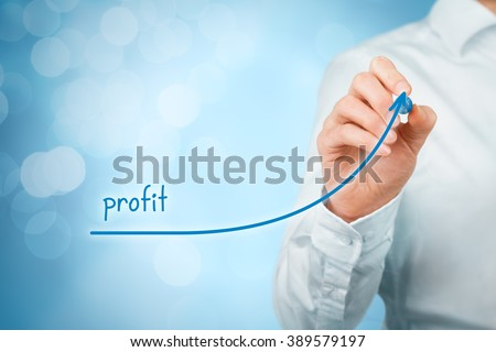 Increase profit concept. Businessman plan (predict) profit growth represented by graph, bokeh in background.