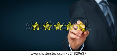 Increase rating, evaluation and classification concept. Businessman draw five yellow star to increase rating of his company. Wide banner composition. - stock photo
