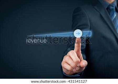 Increase revenue concept. Businessman accelerate revenue growth. - stock photo