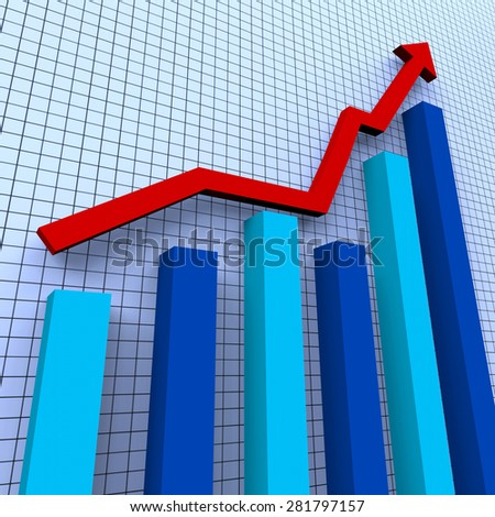 Increasing Graph Showing Financial Report And Success - stock photo