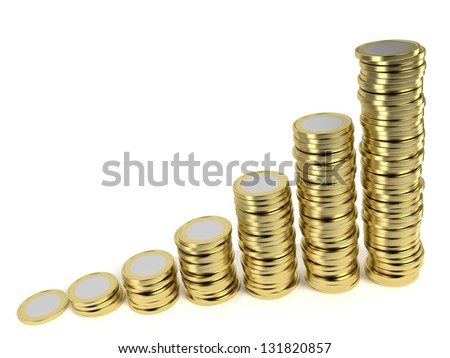 Increasing piles of coins on white background symbolizing a remunerative investment, growing wealth, price inflation etc. Computer generated image with clipping path. - stock photo
