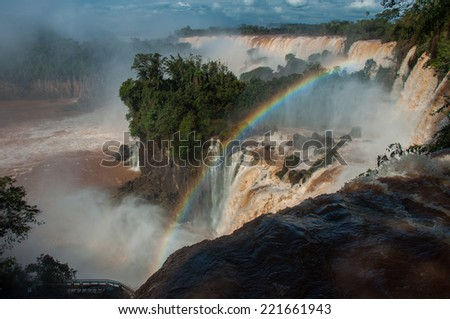 Incredible and gorgeous waterfalls of Iguazu, Argentina. - stock photo