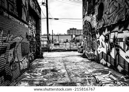 Incredible artwork in Graffiti Alley, Baltimore, Maryland. - stock photo