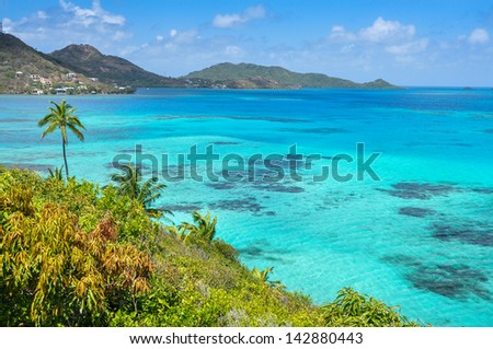 Incredible caribbean sea view of Providencia island near San Andres in Colombia. - stock photo