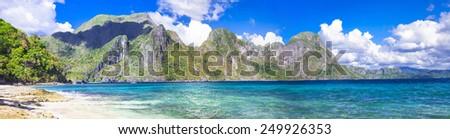 incredible islands of Philippines. Palawan (El NIdo) panorama - stock photo