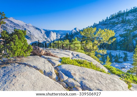 Incredible Mountain Rock Formations In the World Famous Yosemite National Park in California, United States. Horizontal Shot. HDR Image - stock photo