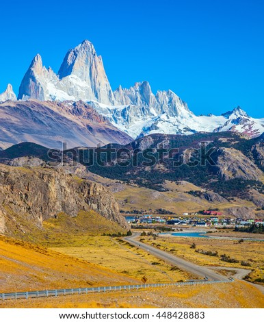 Incredible Patagonia. The road to the snow-white rocks Fitz Roy and tourist center of El Chalten - stock photo