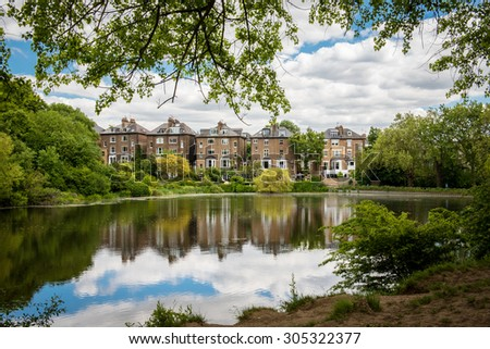 Incredible urban park at London. Hampstead Heath. - stock photo
