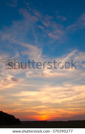 incredibly beautiful sunset, clouds at sunset, colorful sunset - stock photo