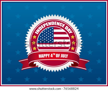 independence day badge with patriotic background. Vector available. - stock photo