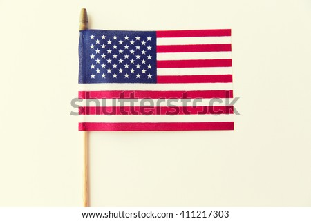 independence day, celebration, patriotism and holidays concept - close up of american flag at 4th july - stock photo