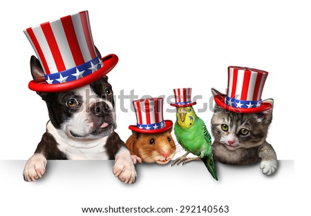 Independence Day pets celebrating the United States fourth of july holiday with a dog cat bird and hamster wearing hats with the american stars and stripes. - stock photo