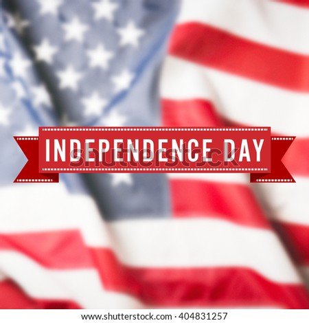Independence Day sign on USA flag background - stock photo