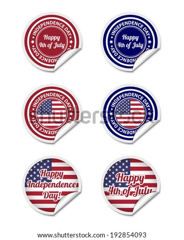 Independence day stickers. Vector available. - stock photo