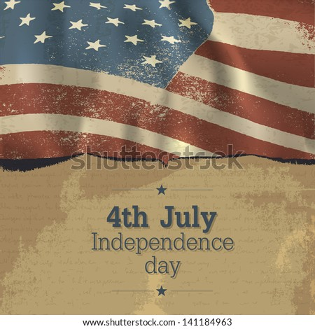 Independence day vintage poster design. Raster version, vector file available in my portfolio. - stock photo