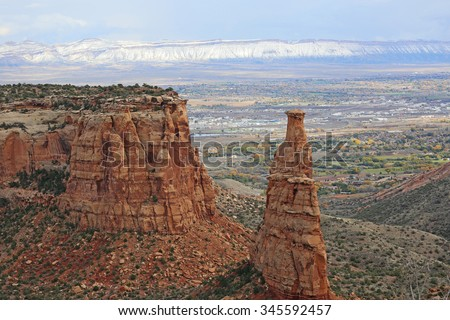 Independence Monument over Grand Junction - Colorado National Monument, Colorado - stock photo