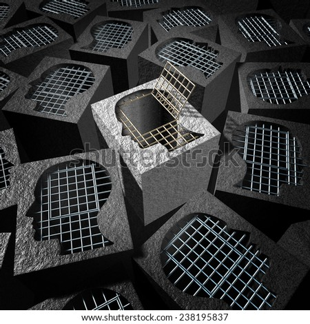 Independent thinking and open mind concept as a freedom metaphor for an  innovative thinker as a cement prison with open metal jail bars shaped as a human head. - stock photo
