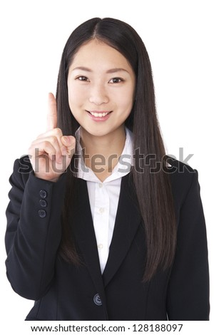 Index finger to make a woman suit - stock photo