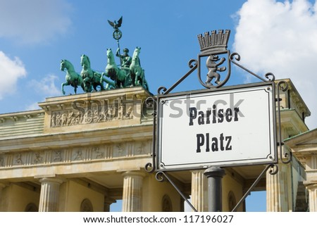 "Index ""Paiser Platz"" near the Brandenburg Gate. - stock photo"