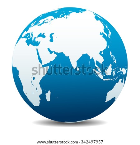 India, Africa, China, Indian Ocean, Global World - Raster Version - stock photo
