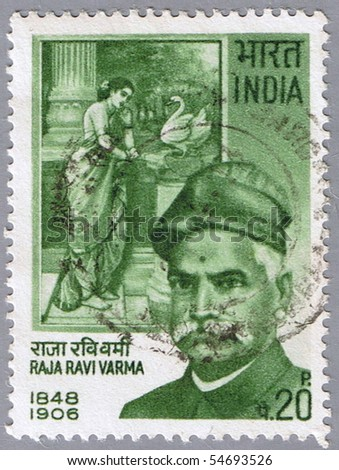 INDIA - CIRCA 1971: A stamp printed in India shows a portrait of the Indian painter Raja Ravi Varma, circa 1971 - stock photo