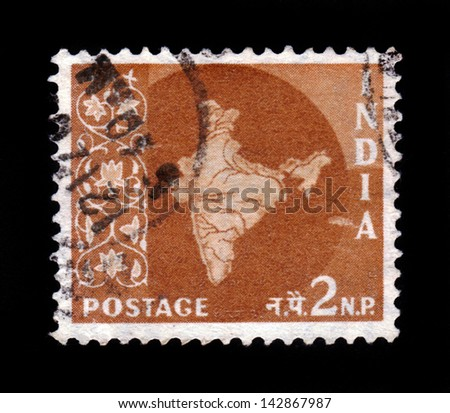 INDIA-CIRCA 1958:A stamp printed in India shows image of map of India, officially the Republic of India, circa 1958. - stock photo