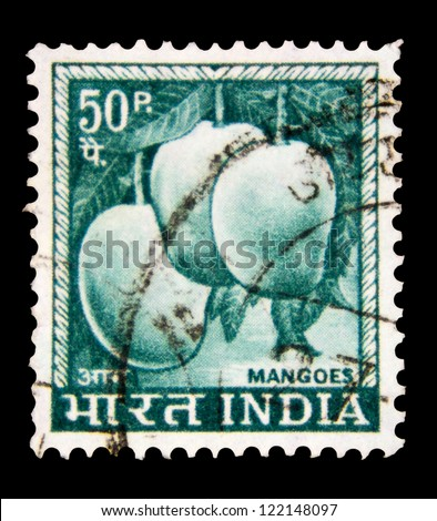 "INDIA - CIRCA 1967: A stamp printed in India shows Mango (Mangifera indica), with the inscription ""Mangoes"", from the series ""Definitive stamps"", circa 1967 - stock photo"