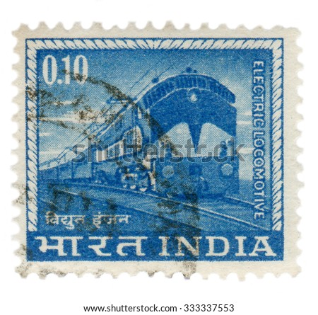 India - circa 1965: Postage stamp printed in India, the stamp depicts the locomotive - stock photo