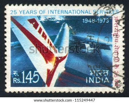 INDIA - CIRCA 1973: stamp printed by India, shows plane, circa 1973 - stock photo