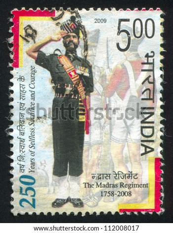 INDIA - CIRCA 2009: stamp printed by India, shows Soldiers, circa 2009 - stock photo