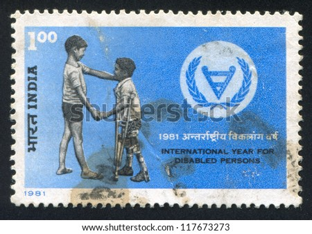 INDIA - CIRCA 1981: stamp printed by India, shows two boys, circa 1981 - stock photo